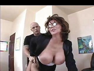 Busty Milf Teacher In Stockings Fucks
