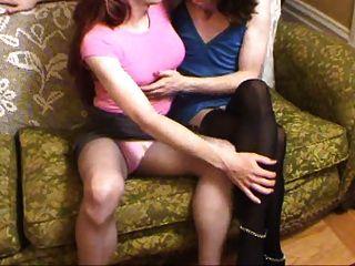 Two Crossdressers Kissing