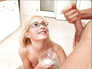 Blonde  Drinks A Cocktail Of Creamy Cum