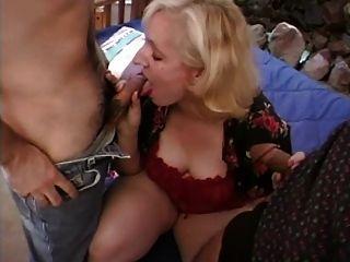 Blonde Milf Sucks And Fucks Two Cocks