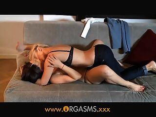 Orgasms Lesbian Woman Enjoys Younger Blonde