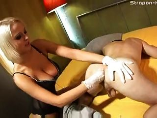 Dominte wife punshes husband with fuck machine 5