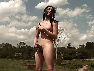 Sexy Big Cock Tranny Masturbating Outdoors