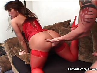 Huge Titted Asian Pornstar In Hot Red Lingerie Suck And Fuck