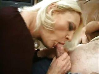 Mature Blond Slut Takes On 2 Guys