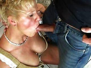 Blond Mom Enjoys Beer And Cum