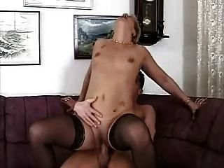 Blonde Little Titted Granny In Stockings Fucks