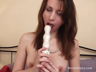 Jasmine Moans At Her Hairy Pussy Insertion