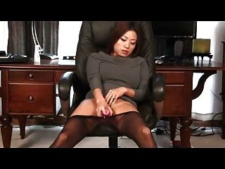 Seamless Asian Pantyhose Play With Dildo - By Tlh