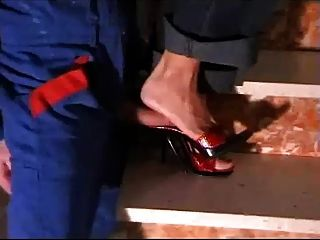Red High Heel Mules