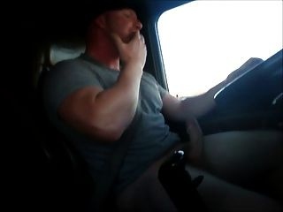 Big Dick Chubby Trucker Jacking N Driving And Eats The Load
