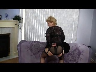 Granny Strips And Dances In Nylon Stockings
