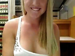 Cute Blonde Masturbates In Library