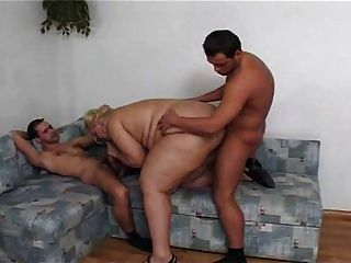 Blonde Ssbbw Drilled By 2 Cocks