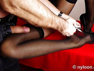 Nylon Stocking Inside Pussy And Cumshot On Leg