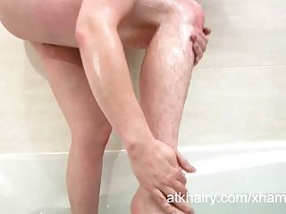Hairy Jenna Gets Her Pussy Wet And Masturbates