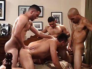 Four Horny Latinos Cumming Inside His Insatiable Ass.