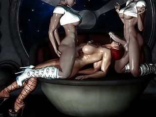 Sexy 3d Art - 2 Shemale Fuck A Girl (very Hot)