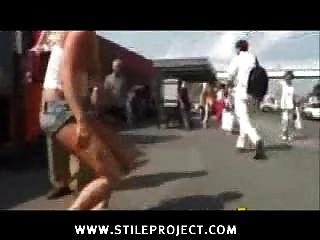 Nude Girl In Public Kicked