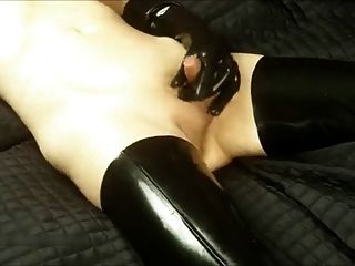 Shemale Latex Masturbation