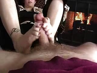 Chubby Wife Handjob Footjob