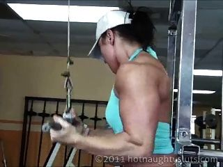 Muscle Girl Workout And Shower