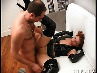 French Redhead Slut In Latex Getting Hard Sodomized