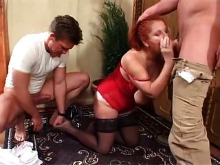 2 Young Studs Double Team Saggy Tittied Redhead Granny