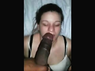 Skilled White Girl Deep Throats Black Dick With Style