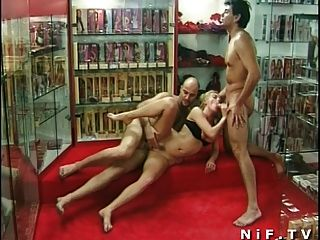 French Milf Anal Fucked In Threesome In A Sexshop