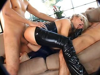 Busty And Blond In Black Latex