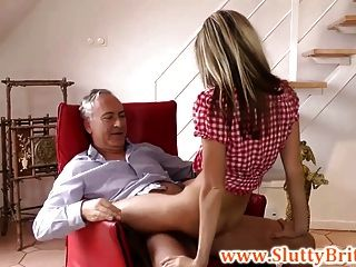 Young Brit Babe Rides Old Mans Cock