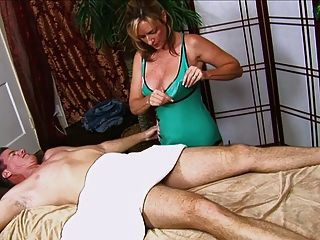 Guy Gets A Handjob From Hot Moms