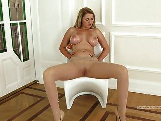 Blonde With Massive Breasts In Pantyhose Dildo On Clitoris