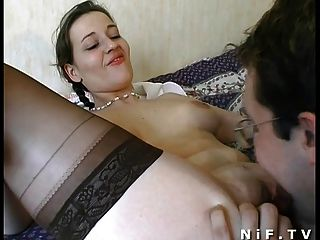 Amateur French Couple Have Sex On The Bed