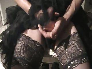 Wear Hot Petticoat, Masturbate And Cum Through Nylons