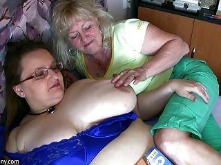 Chubby Granny And Old Granny Masturbating On The Bet Hardcor
