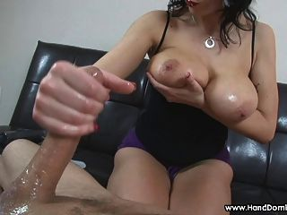 Amazon Milf With Huge Natural Tits Gives Femdom Handjob