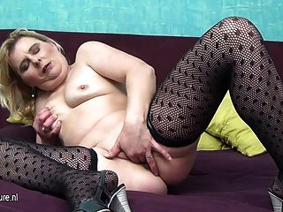 Dirty Grandma Slut Playing Alone