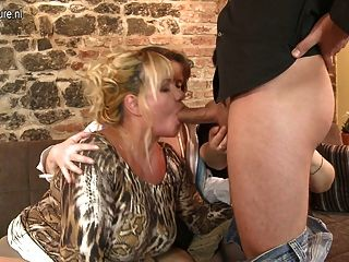 Lucky son fucks big breasted mature aunty