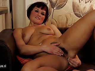 Hot Hairy Milf Masturbate On The Couch