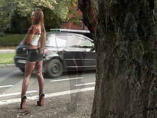Submissive Slut Hooker Handcuffed Spandex Miniskirt Extreme