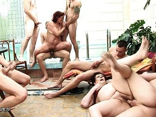2 Mature Cunts Fucked By A Lot Of Guys