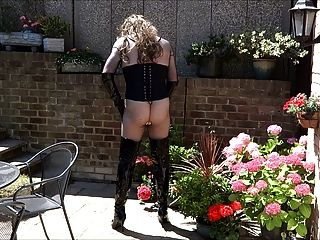 Sexy Transvestite In Thigh Boots Wanking In The Garden