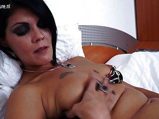 Mature Slut Mom Masturbating On Her Bed