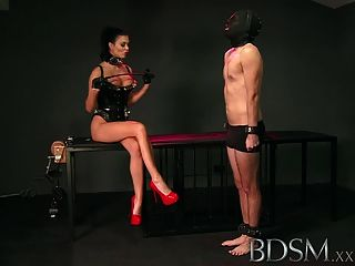 Bdsm Xxx Slave Boy Licks Mistresses Spit From The Cage Floor
