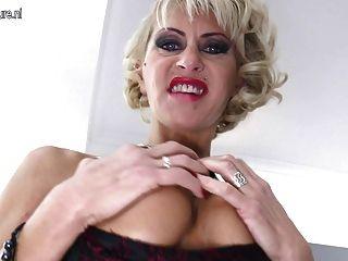 Hot Mature Pierced Mom Takes Huge Black Dildo