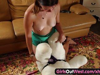 Women having sex with a teddy bear