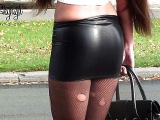 Julie Skyhigh Hooker Handcuffed Spandex Skirt& Nude Belly