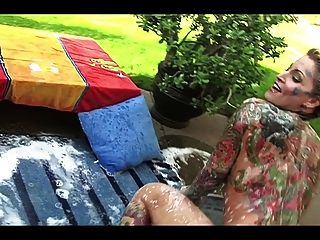 Beautiful Tattooed Blonde Milf - Bathing In The Garden